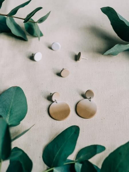 Clay Polymer Earrings Arranged in Eucalyptus