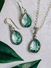 Green Gemstone Earring and Necklace Set