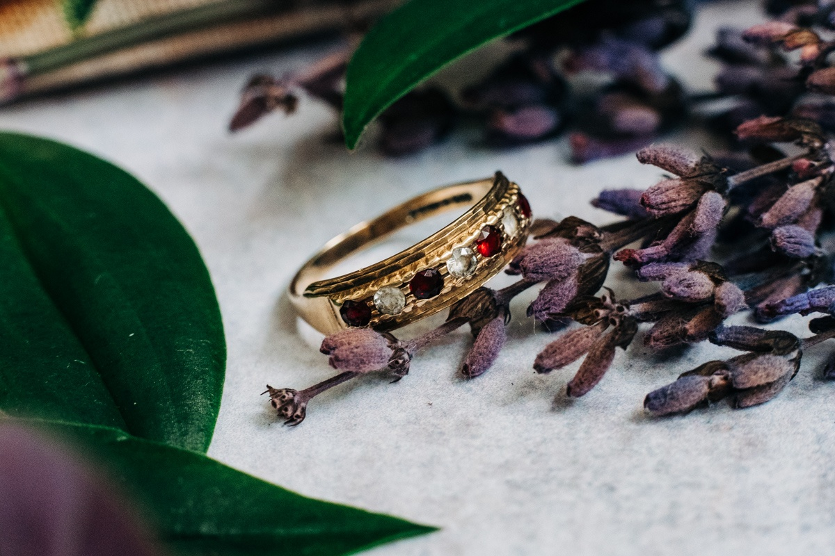 Gold Ring with Red and White Stones