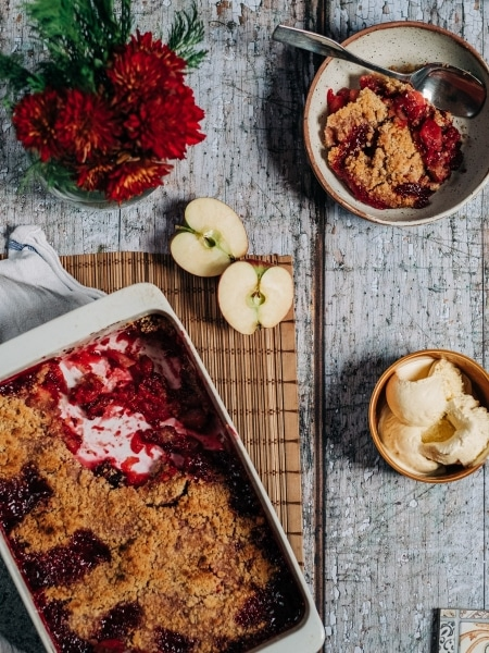 Homemade Apple Blackberry Crumble