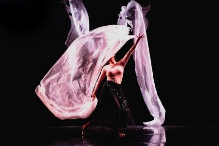 Dancer and cloth, Pavilion Dance South West, 2019