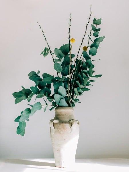 Floral Arrangement in Stoneware Vase